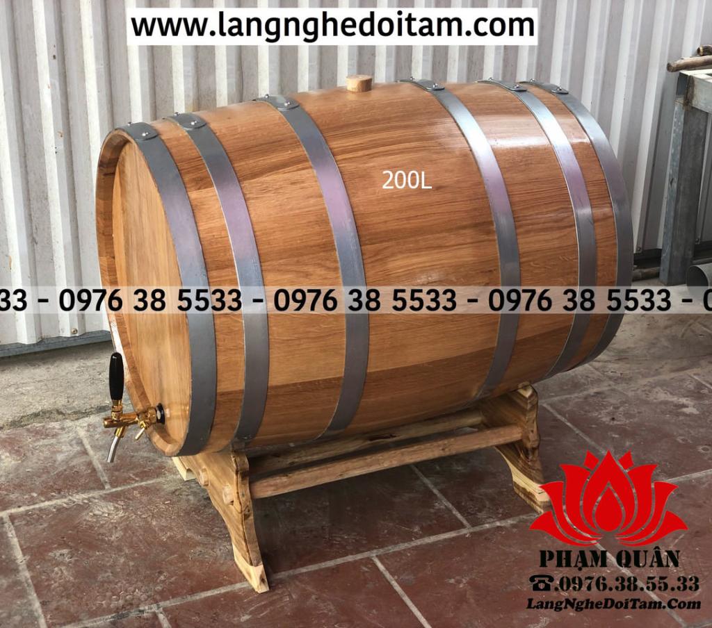 Bán thùng ngâm rượu gỗ sồi 200L