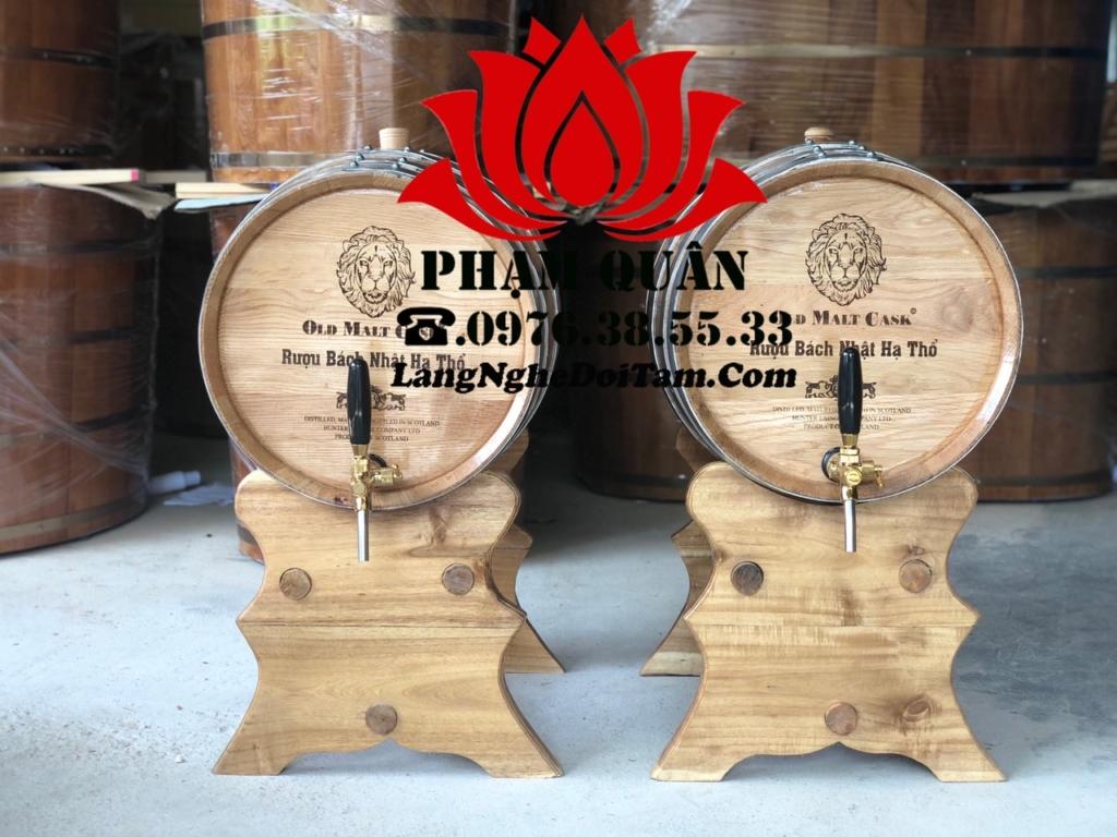 Bán thùng gỗ sồi ngâm rượu 50l, kt miệng 38 * dài 55cm