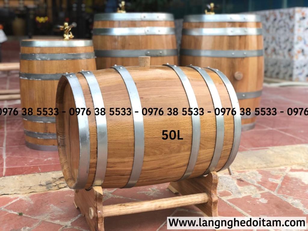 Thùng rượu gỗ sồi pháp 50L, bảo hành đỏi mới trong 12 tháng nếu thấy rò rỉ