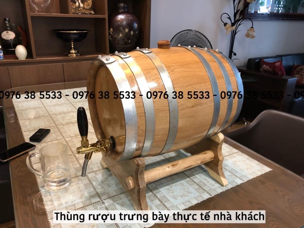 Thùng rượu gỗ sồi 30L có vòi mạ Crom