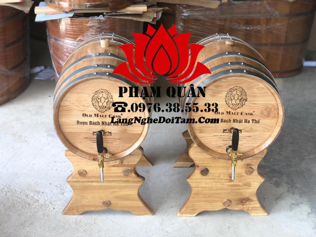 Thùng gỗ sồi ngâm rượu 50l, kèm vòi crom cao cấp và khắc mặt