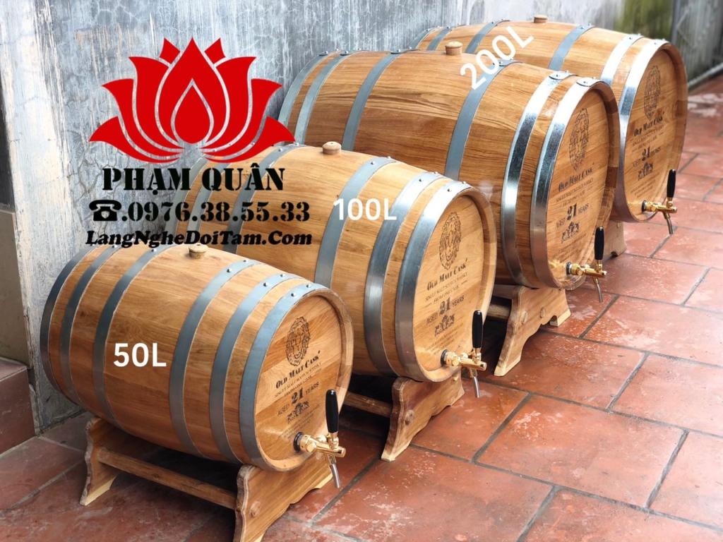 Thùng gỗ sồi ngâm rượu từ 50l,100l,200l