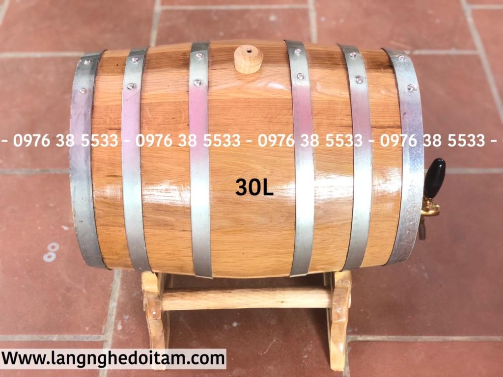 Bán thùng rượu gỗ sồi cao cấp có vòi Crom