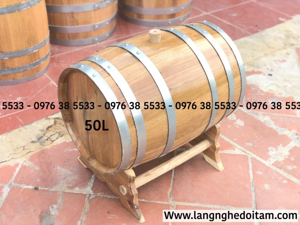 Thùng rượu gỗ sồi 50L có Kt: đk miệng 38cm * dài 55cm