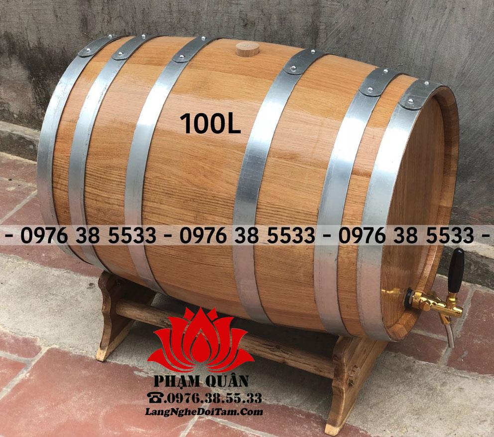 Bán thùng rượu gỗ sồi dùng tích 100L, giao hàng và lắp đặt tại nhà