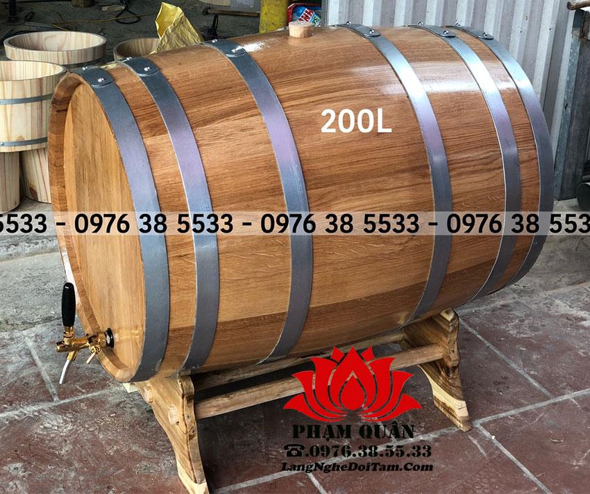 Thùng rượu gỗ sồi dung tích 200L ko keo dính , ko sáp ong nảo hành 12 tháng