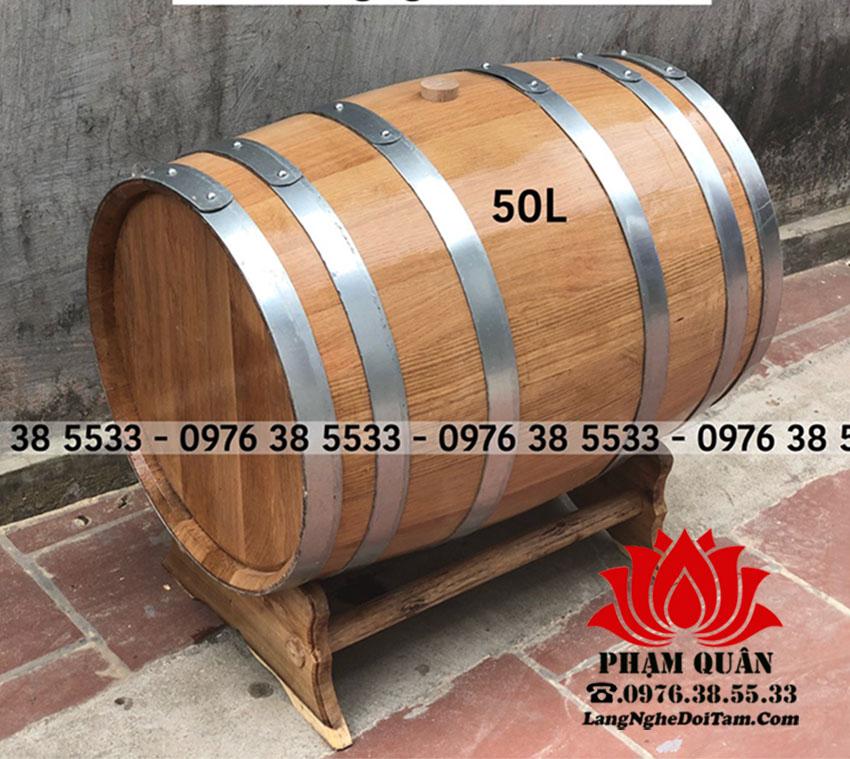 Thùng rượu 50l có 6 đai mạ kém bao xung quanh rất chắc chẵn