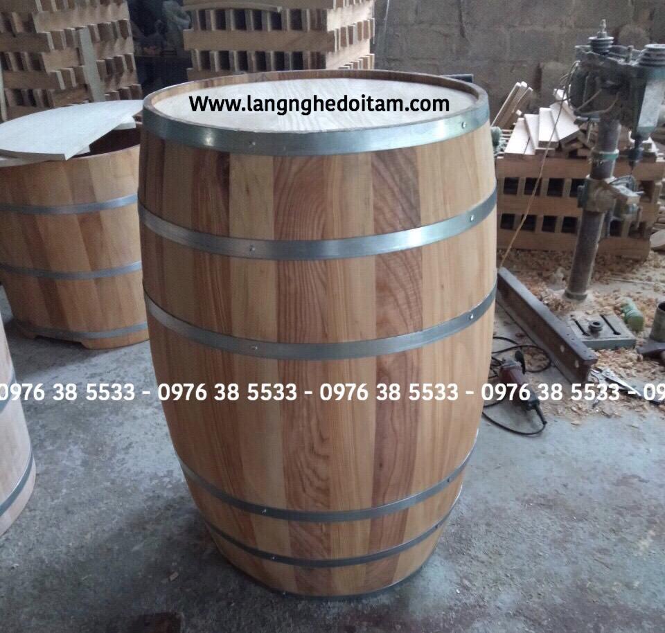 Thùng rượu trang trí gỗ sồi đang để mộc chưa phun màu