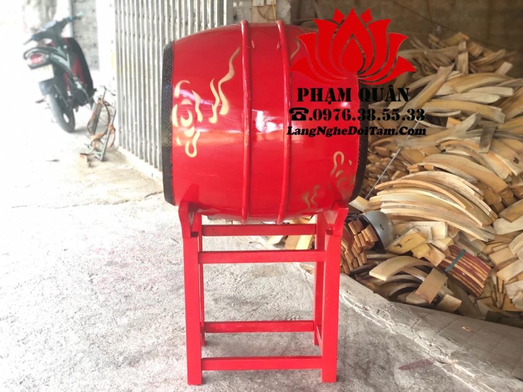 Ban trống đình gỗ mít hoa văn sơn đỏ vẽ mây