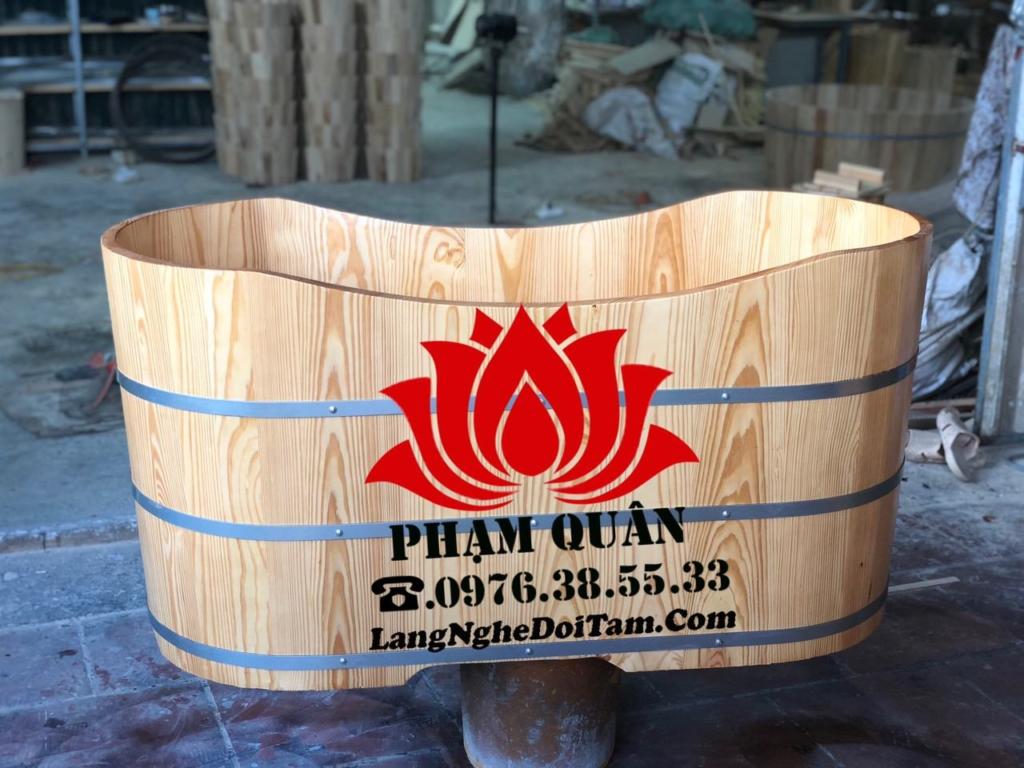 Bồn tắm gỗ bầu dục chất lượng gỗ nhập khẩu