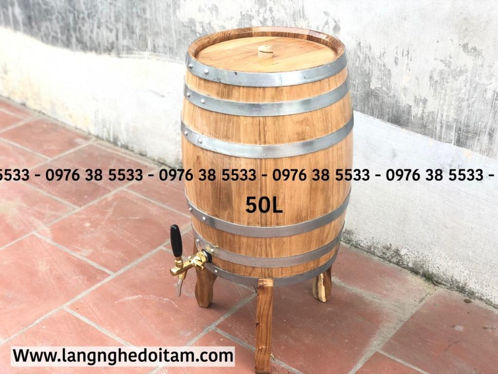 Bán thùng rượu gỗ sồi dáng đứng 50L