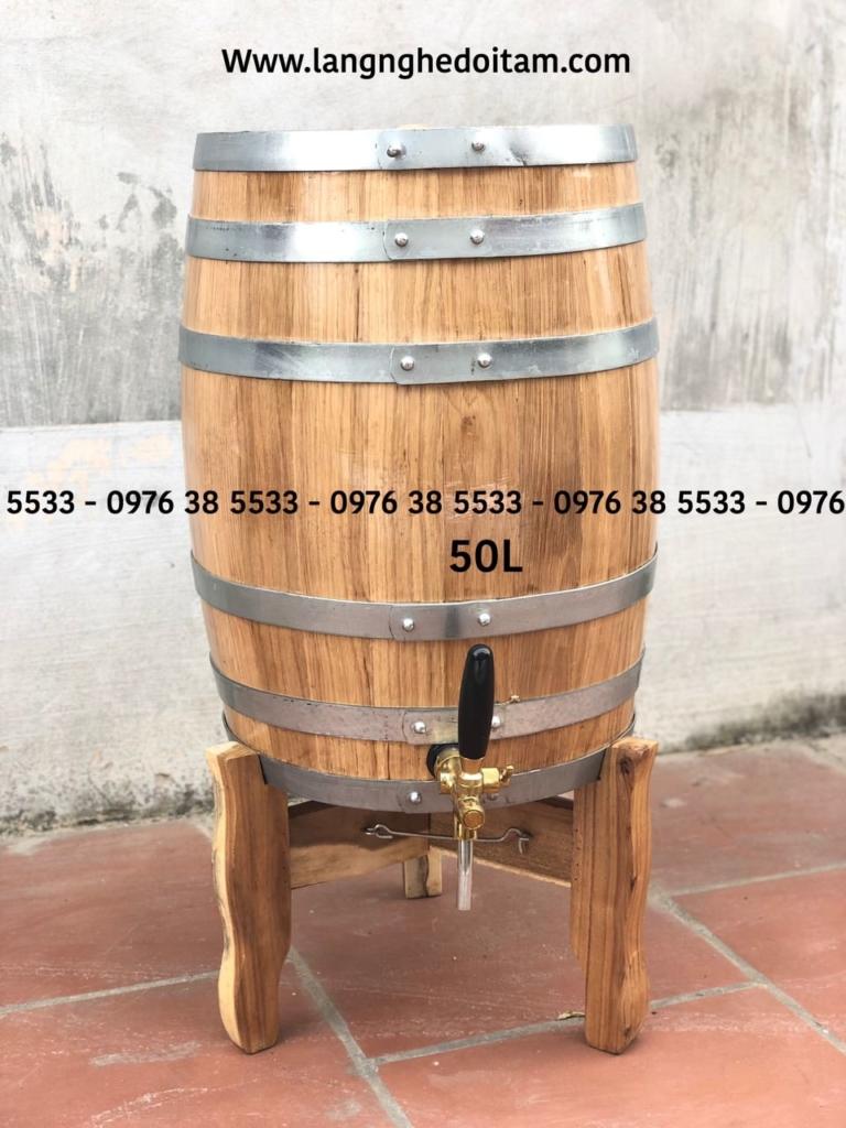 Thùng ngâm rượu trực tiếp gỗ sồi dáng đứng 50L