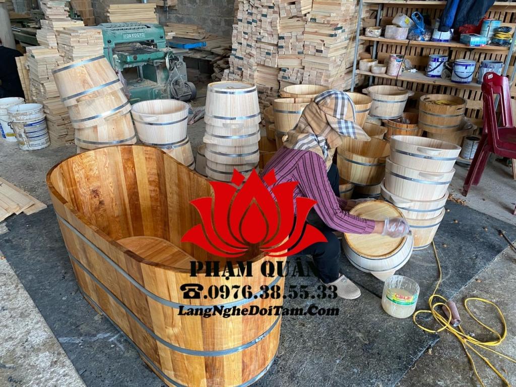 Xưởng sx bồn tắm gỗ, chậu gỗ ngâm chân, Thùng gỗ phạm quận