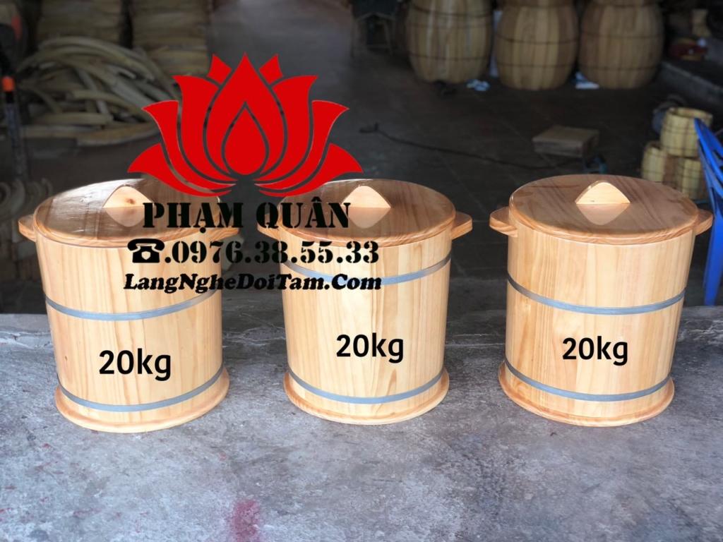 Thùng gạo bằng gỗ 20kg, với kt Miệng rộng 36cm * cao 42cm