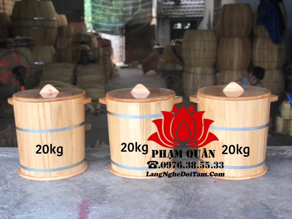 Bán thùng gạo bằng gỗ 20kg, với chất lượng bằng gỗ thông nhập khẩu