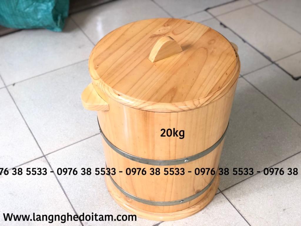 Bán thùng đựng gạo bằng gỗ 20kg