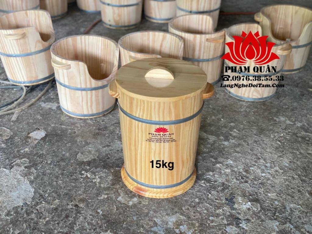 Thùng gỗ đựng gao 15kg