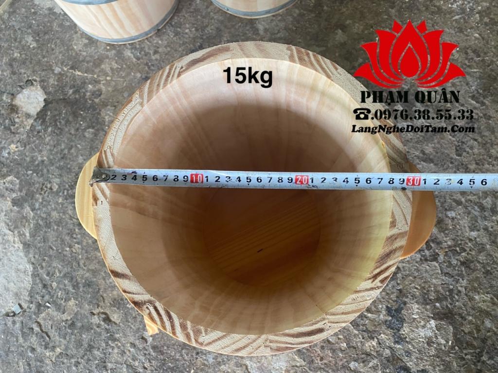 Thùng gỗ đựng gạo phong thủy