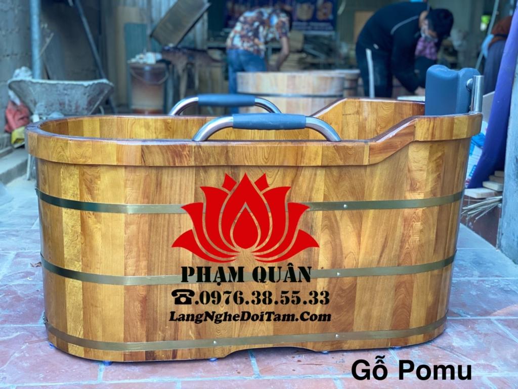 Bán bồn tắm gỗ pomu bo viền có tay vin Niox