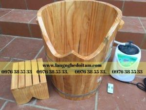 thùng gỗ xông hơi chân cao cấp