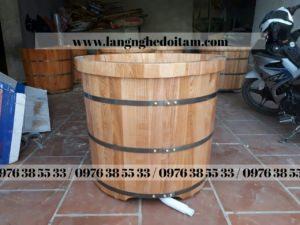 bồn tắm tròn dáng đứng gỗ sồi nhập khẩu